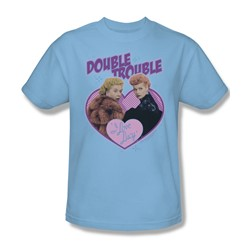 I Love Lucy - Double Trouble Adult T-Shirt In Light Blue