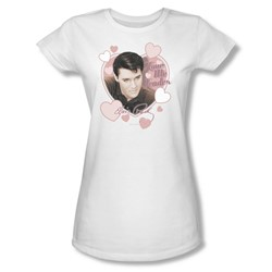Elvis - Love Me Tender Juniors T-Shirt In White