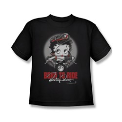 Betty Boop - Born To Ride Big Boys T-Shirt In Black