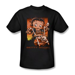 Betty Boop - Sunset Rider Adult T-Shirt In Black