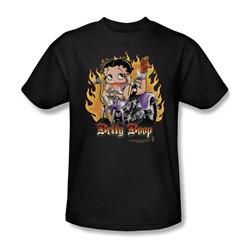 Betty Boop - Biker Flames Boop Adult T-Shirt In Black