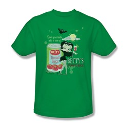 Betty Boop - Vampire Betty's Tomato Juice Adult T-Shirt In Kelly Green