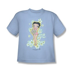 Betty Boop - Flowers Big Boys T-Shirt In Light Blue