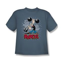 Popeye - Strength Big Boys T-Shirt In Slate
