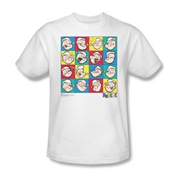 Popeye - Popeye Color Block Adult T-Shirt In White