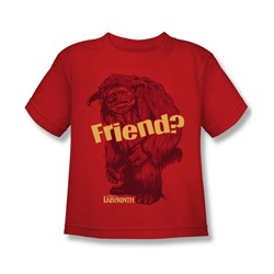 The Labyrinth - Ludo Friend Little Boys T-Shirt In Red