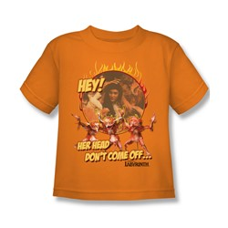 The Labyrinth - Head Don't Come Off Little Boys T-Shirt In Orange