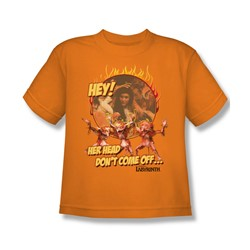 The Labyrinth - Head Don't Come Off Youth T-Shirt In Orange