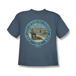 Nbc - Distressed Pawnee Seal Big Boys T-Shirt In Slate