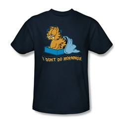 Garfield - I Don't Do Mornings Adult T-Shirt In Navy