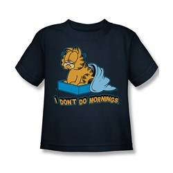 Garfield - I Don't Do Mornings Little Boys T-Shirt In Navy