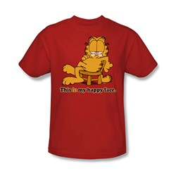 Garfield - Happy Face Adult T-Shirt In Red