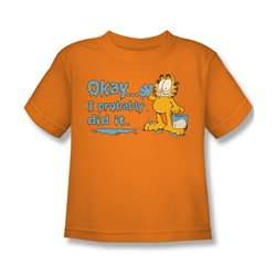 Garfield - I Probably Did It Little Boys T-Shirt In Orange