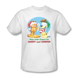 Garfield - Merry And Striped Adult T-Shirt In White