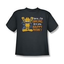 Garfield - Smiling Big Boys T-Shirt In Charcoal