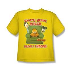 Garfield - Throne Big Boys T-Shirt In Yellow