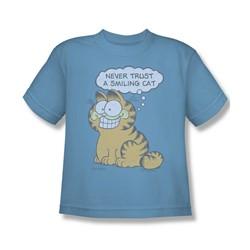 Garfield - Smiling Cat Big Boys T-Shirt In Carolina Blue