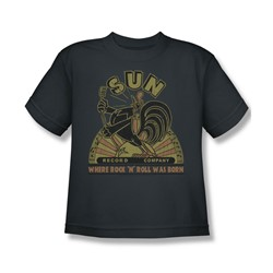Sun Records - Sun Rooster Big Boys T-Shirt In Charcoal