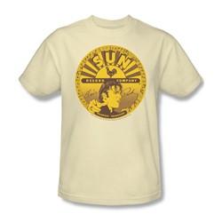 Sun Records - Elvis Full Sun Label Adult T-Shirt In Cream