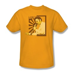 Sun Records - Elvis On The Mic Adult T-Shirt In Gold