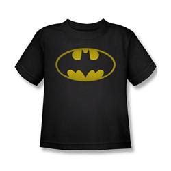 Batman - Washed Bat Logo Little Boys T-Shirt In Black