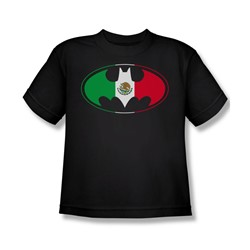 Batman - Mexican Flag Logo Big Boys T-Shirt In Black
