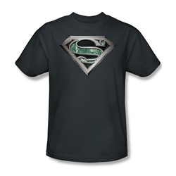 Superman - Circuitry Logo Adult T-Shirt In Charcoal