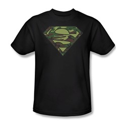 Superman - Camo Logo Adult T-Shirt In Black