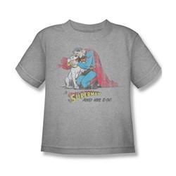 Superman - A Superman & His Dog Little Boys T-Shirt In Heather