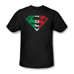 Superman - Mexican Shield Adult T-Shirt In Black