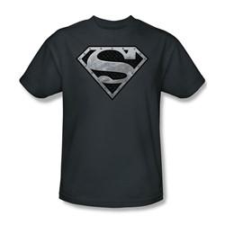 Superman - Super Metallic Shield Adult T-Shirt In Charcoal