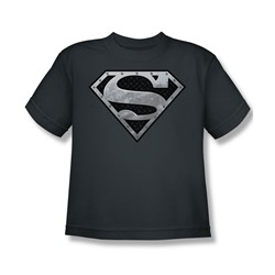 Superman - Super Metallic Shield Youth T-Shirt In Charcoal