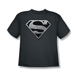 Superman - Super Metallic Shield Big Boys T-Shirt In Charcoal
