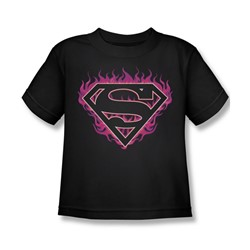 Superman - Fuchsia Flames Juvy T-Shirt In Black