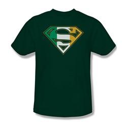 Superman - Irish Shield Adult T-Shirt In Hunter Green