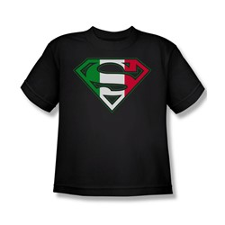 Superman - Italian Shield Youth T-Shirt In Black