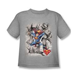 Superman - Break Through Little Boys T-Shirt In Heather