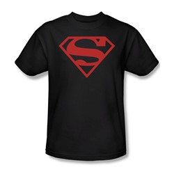 Superman - Red On Black Shield Adult T-Shirt In Black