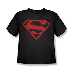 Superman - Red On Black Shield Juvy T-Shirt In Black