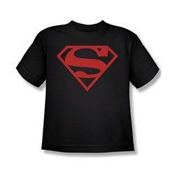 Superman - Red On Black Shield Youth T-Shirt In Black