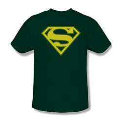 Superman - Yellow & Green Shield Adult T-Shirt In Hunter Green