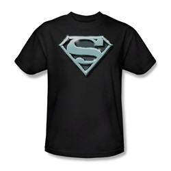 Superman - Chrome Shield Adult T-Shirt In Black
