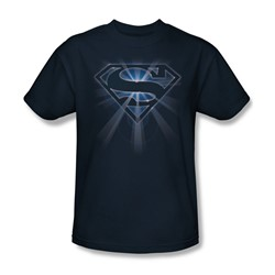 Superman - Glowing Shield Adult T-Shirt In Navy