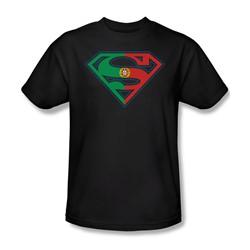 Superman - Portugal Shield Adult T-Shirt In Black