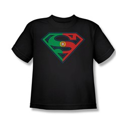 Superman - Portugal Shield Youth T-Shirt In Black