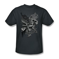 Superman - Flight And Flight Adult T-Shirt In Charcoal
