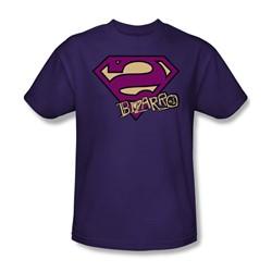 Superman - Bizarro Shield Adult T-Shirt In Purple