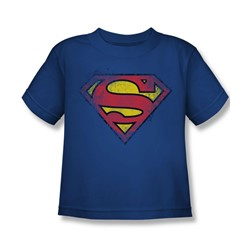 Superman - Destroyed Supes Logo Juvy T-Shirt In Royal Blue