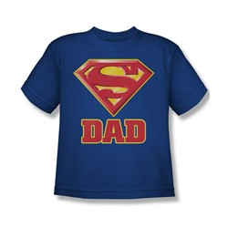 Superman - Super Dad Youth T-Shirt In Royal Blue