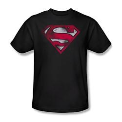 Superman - War Torn Shield Adult T-Shirt In Black